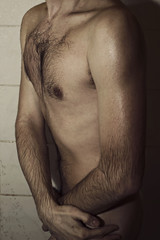 young man in the shower