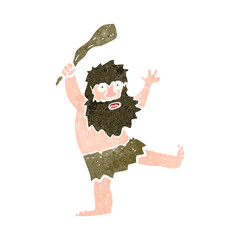 retro cartoon caveman