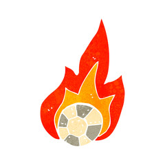 retro cartoon flaming football