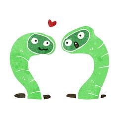 retro cartoon snakes in love