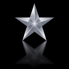 Silver star on black background