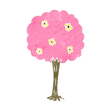 retro cartoon pink tree