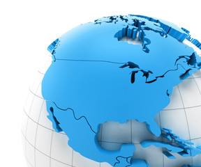 Globe of USA with national borders