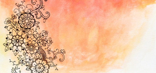 hand painted watercolor and flower design, floral background with copyspace, hand drawn flowers are sketched with black markers, flower doodle border, orange and pink watercolor background