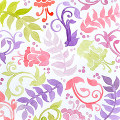 floral pattern watercolor painting in green yellow and purple pink. Abstract flowers ferns swirls and curl designs in pretty random pattern. Hand painted watercolor background.