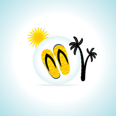 beach concept sleeper with palm tree vector illustration