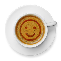 Smiley face on coffee