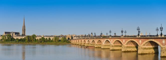 France, Bordeaux, 33, Pierre bridge and Saint Michel church