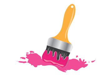 Pędzel malarski z różową plamą farby obraz wektorowy