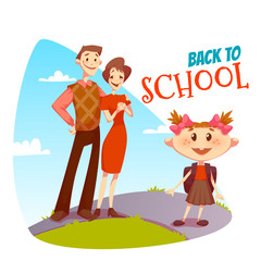 Back to school poster. Schoolgirl going in college
