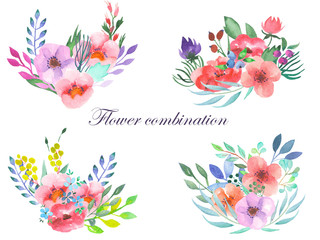 Set of bouquets with flowers, leaves and plants painted in watercolor on a white background