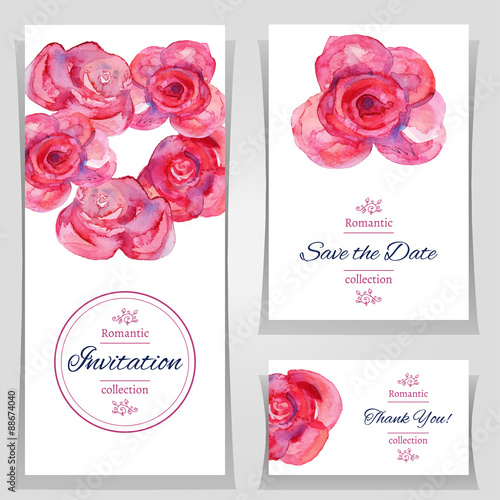 Vector illustration save the date or wedding invitation templates vector illustration save the date or wedding invitation templates with red roses invitation cards stopboris Gallery