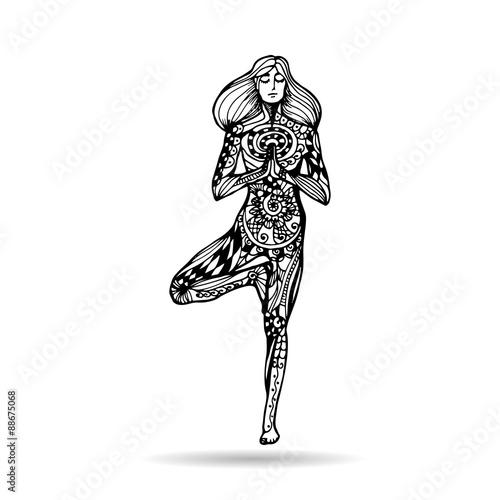 Vector Yoga Illustration In Zentangle Style Girl In Yoga Pose As