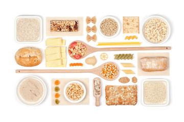 cereals on white background