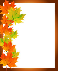 low-poly polygon autumn maple leaves photo frame greetings