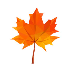 low-poly polygon red autumn maple leaves