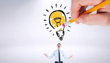Composite image of hand erasing light bulb
