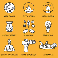 Set linear icons for ayurveda design. Ayurveda vector illustration. Ayurveda logos in outline style. Design elements for ayurveda center, yoga studio, spa center. Ayurveda sticker. Ayurveda symbols.