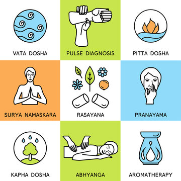 Set linear icons for ayurveda design. Ayurveda vector illustration. Ayurveda logos in outline style. Design elements for ayurveda center, yoga studio, spa center. Ayurveda sticker. Ayurveda symbols.
