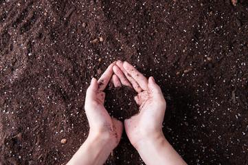 土を触っている手 Fototapete