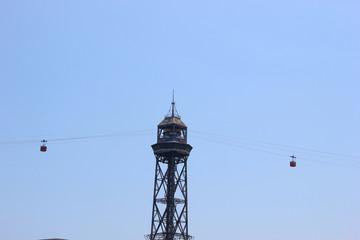 Die berühmte Seilbahnstütze der Hafenseilbahn in Barcelona