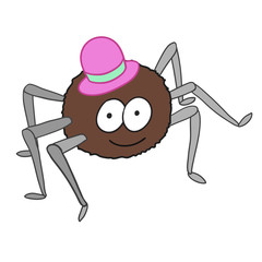 Cartoon cute spider in hat isolated on white background