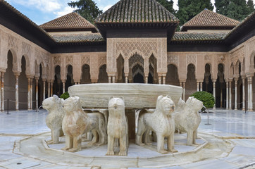 Alhambra - lion Fountain in Granada, Spain