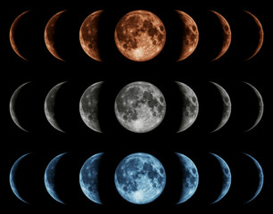 Seven phases of the moon isolated on black background.