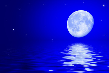 Night sky with moon and stars reflected in the water surface