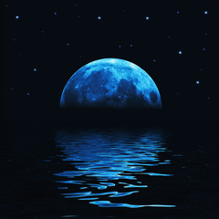 Big blue moon reflected in water