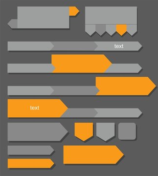 Grey, orange arrows, buttons, charts, infographics.