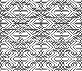 Vector black and white seamless pattern stars,Modern textile print with illusion, abstract texture, Symmetrical repeating background