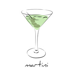 Dry martini cocktail with olives in glass. Wine icon isolated.