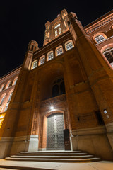 red townhall berlin germany at night