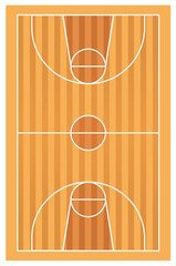 Wooden basketball court with lines