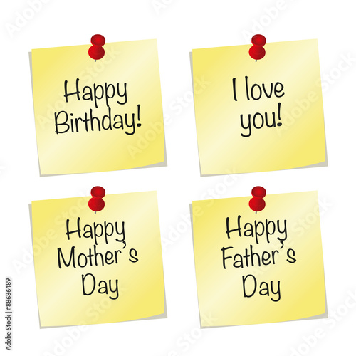 vector yellow paper notes with push pin and happy birthday i love you happy