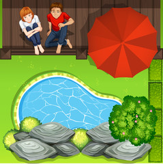 Couple sitting near pond aerial perspective