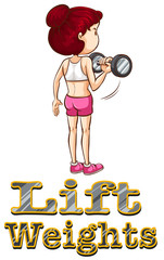 Woman doing weightlifting alone