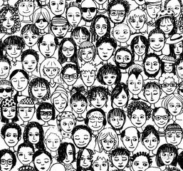 Fröhliche Leute / handgezeichnetes Hintergrundmuster
