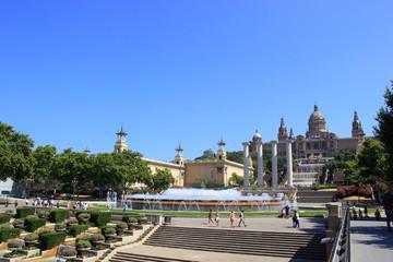 Der Font Magica, die Vier Säulen und das Palau Nacional (Barcelona)