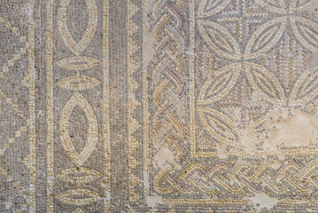 Ancient mosaic floor tiles.