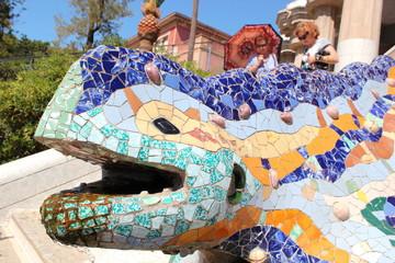 Kopf des Salamanders im Park Güell (Antoni Gaudi) in Barcelona