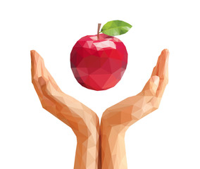polygonal hand and the apple