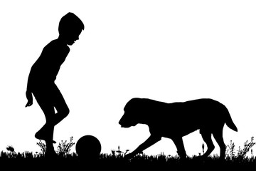 Vector silhouette of a boy with a dog.