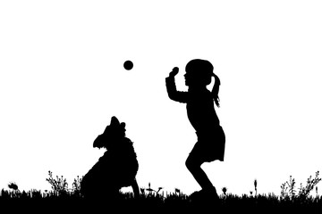 Vector silhouette of a girl with a dog.