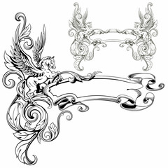 Pegasus winged heraldic decoration fantastic animal vector illus