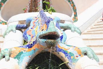Der Salamander von Antoni Gaudi im Parc Güell in Barcelona