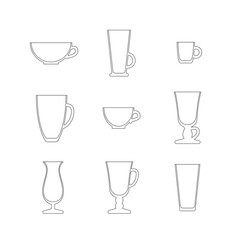 Line art set of cups and glasses