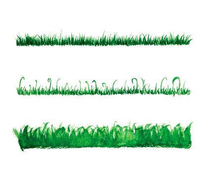 Hand drawn watercolor grass set