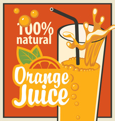 Vector banner with orange and a glass of juice